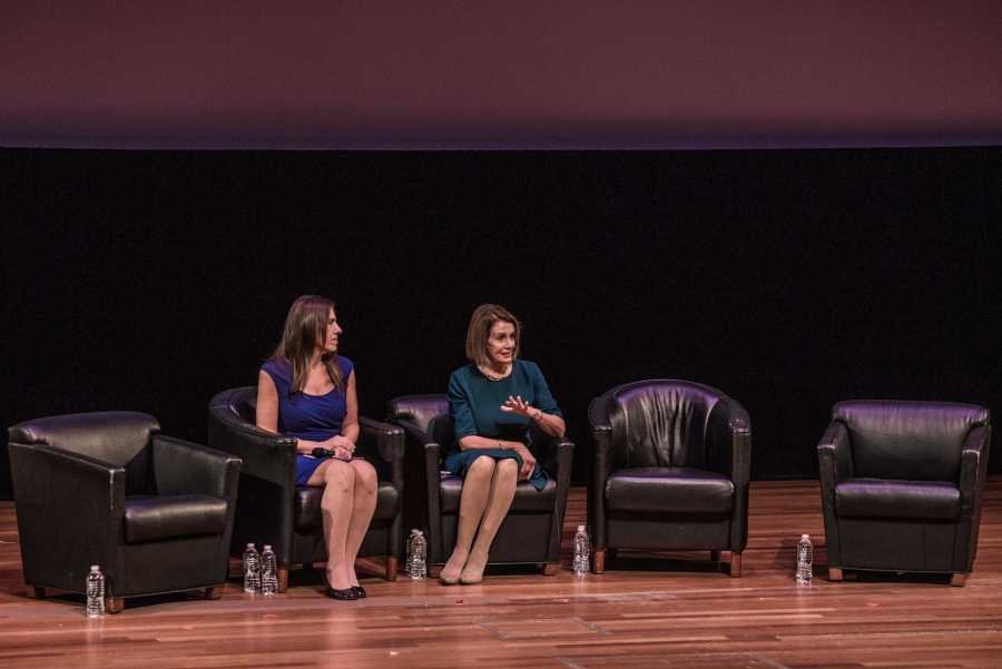House Minority Leader Nancy Pelosi addresses NYU students and community members at the Skirball Center on Monday. She spoke about the presence of women in politics, particularly young women. (Photo by Sam Klein)