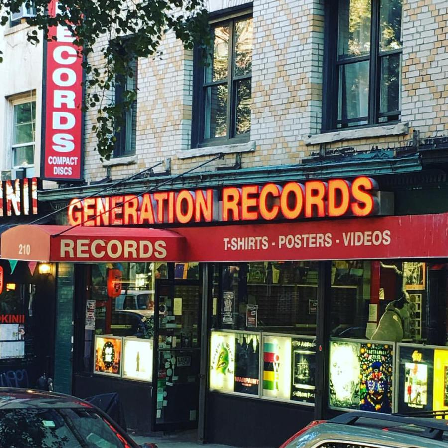 The storefront for Generation Records on Thompson St.