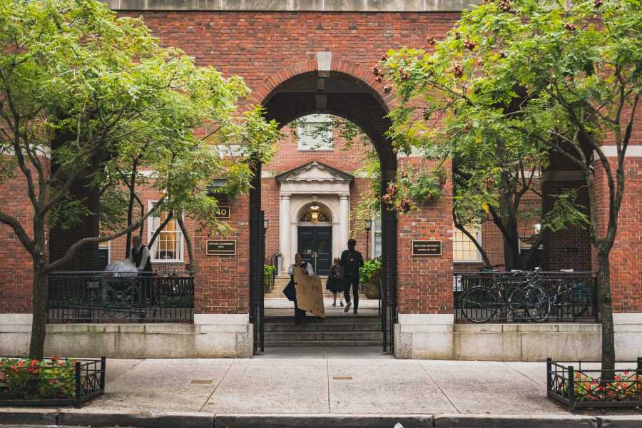 The entrance to Vanderbilt Hall, which houses NYU School of Law. (Photo by Tony Wu)