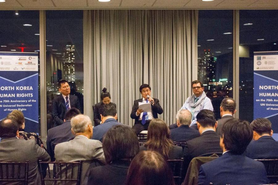 Mr. Ro Hee Chang (second from right), defector from North Korea, spoke in a conversation hosted by NYU Freedom For North Korea and International Relations Society at NYU on Oct. 26. (via facebook.com)
