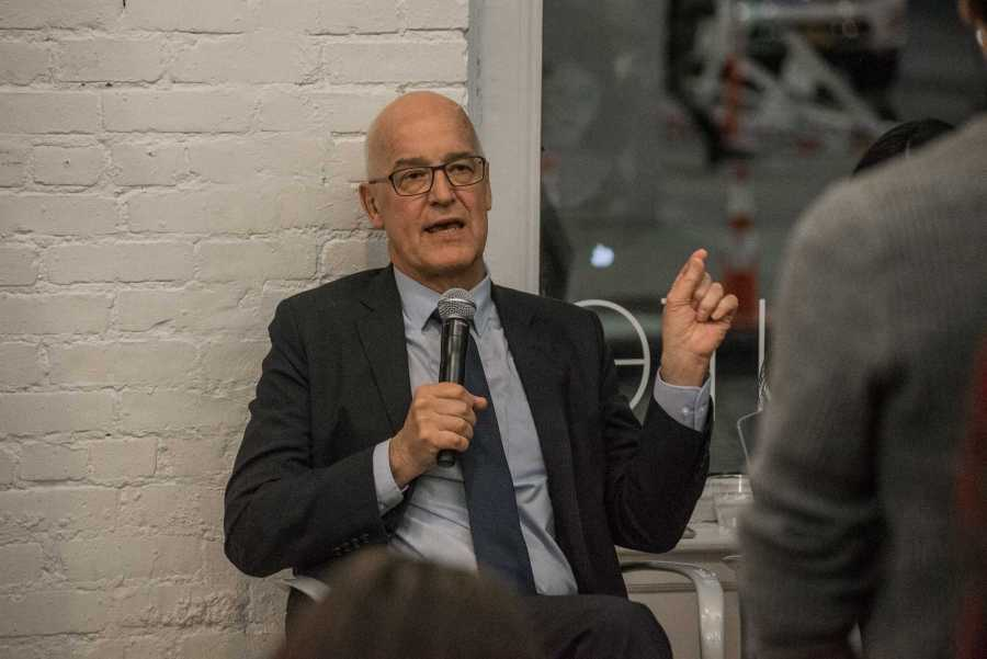 NYU President Andrew Hamilton answers questions at a town hall in November regarding the Being@NYU survey results. (Photo by Sam Klein)