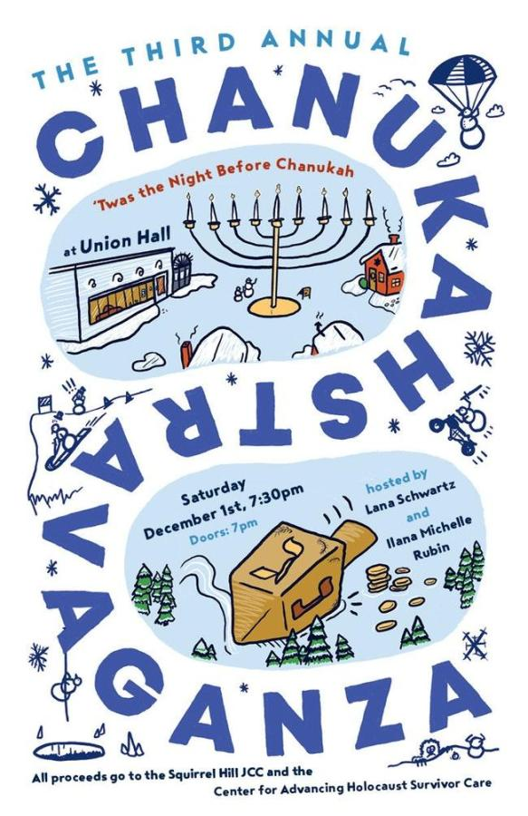 Poster for the third annual Chanukahstravaganza: 'Twas the Night Before Chanukah.' The event will take place at Union Hall this Saturday. (via unionhallny.com)