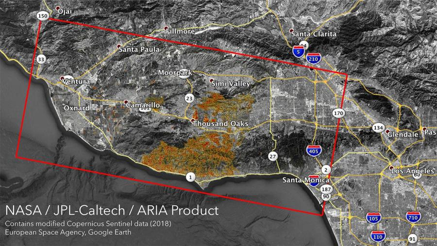 The Damage Proxy Map higlights the areas in California that is potentially impactd by the Woolsey and Camp Fires. (Courtesy of NASA/JPL-Caltech)