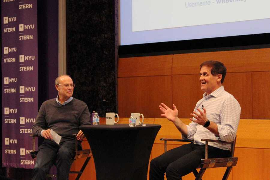 EMT Professor Greg Coleman (left) interviews Mavericks owner and entrepreneur Mark Cuban about one of his first start-ups, Broadcast.com, an early audio streaming service he began in 1995 before selling it to Yahoo for $5.7 billion. (Photo by Victor Porcelli)