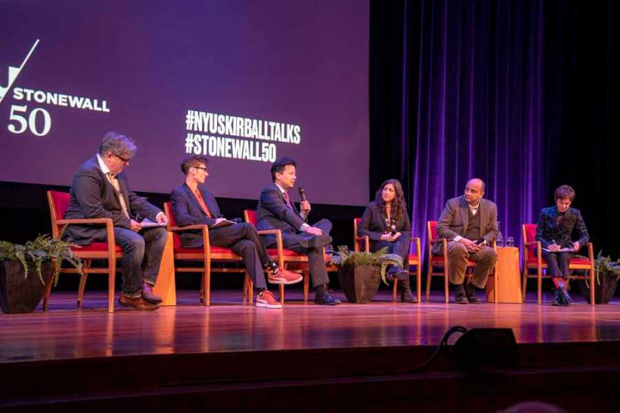 NYUs Skirball hosts a panel of professors as part of NYUs Stonewall 50 campaign. (Photo by Alana Beyer)