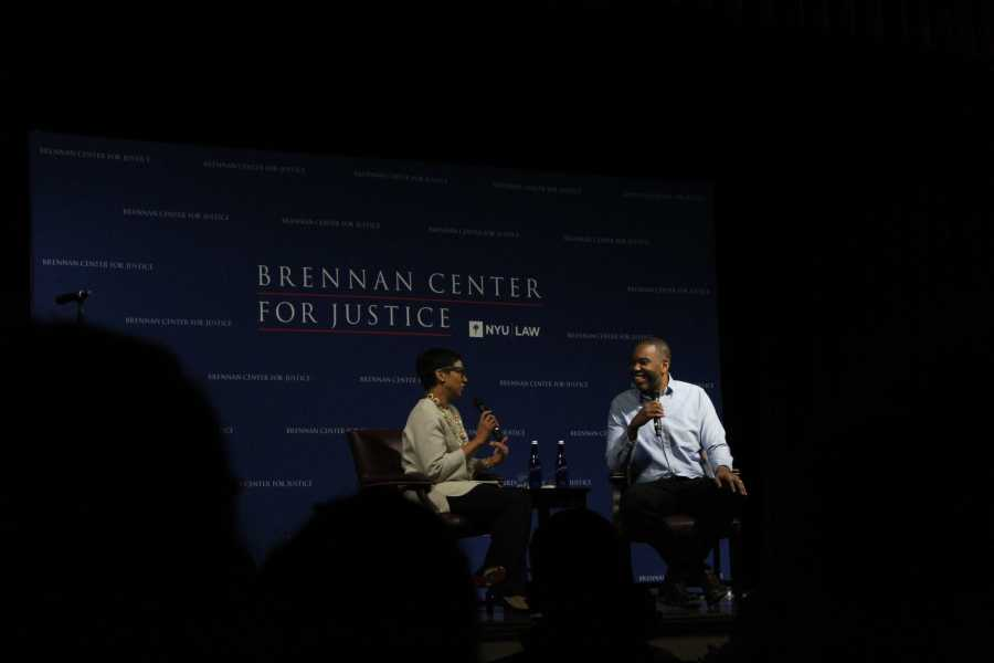 Law professor Melissa Murray speaks with renowned journalist and author Ta-Nehisi Coates about mass incarceration, the #MeToo movement and 2020 presidential candidates. (Staff Photo by Victor Porcelli)