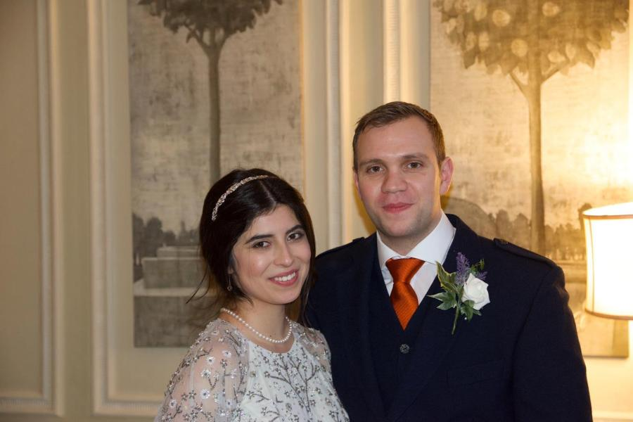 Matthew Hedges, a British doctoral student who was imprisoned last year in the UAE, and his wife, Daniela Tejada, at their wedding. (Courtesy of Matthew Hedges and Daniela Tejada)