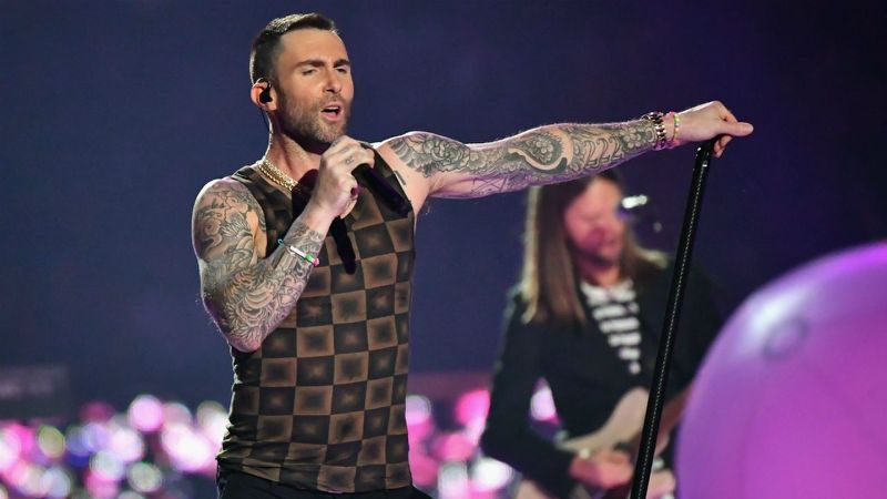Maroon 5 performing in the Super Bowl Half Time Show (via Yahoo Entertainment)