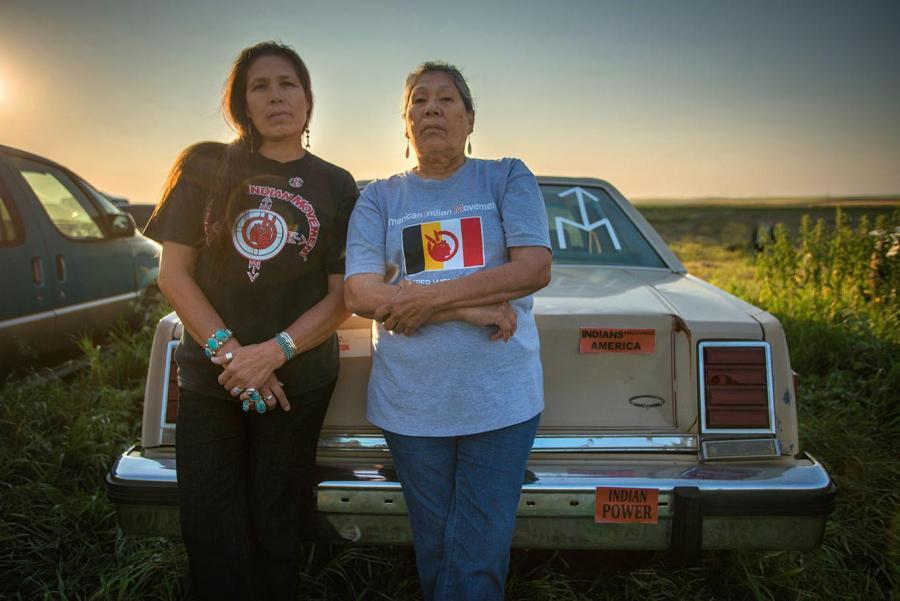Activists Marcella Gilbert (Oohenumpa and Ihanktowan Bands of the Lakota and Dakota nations) and Madonna Thunder Hawk (Oohenumpa Lakota, enrolled citizen of the Cheyenne River Sioux Tribe), in the documentary