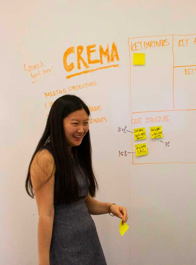Ma Qing keeps a lively and creative dynamic in her business meetings. Her energy and passion for Crema is contagious in her start-up meeting.  (Photo by Jorene He)
