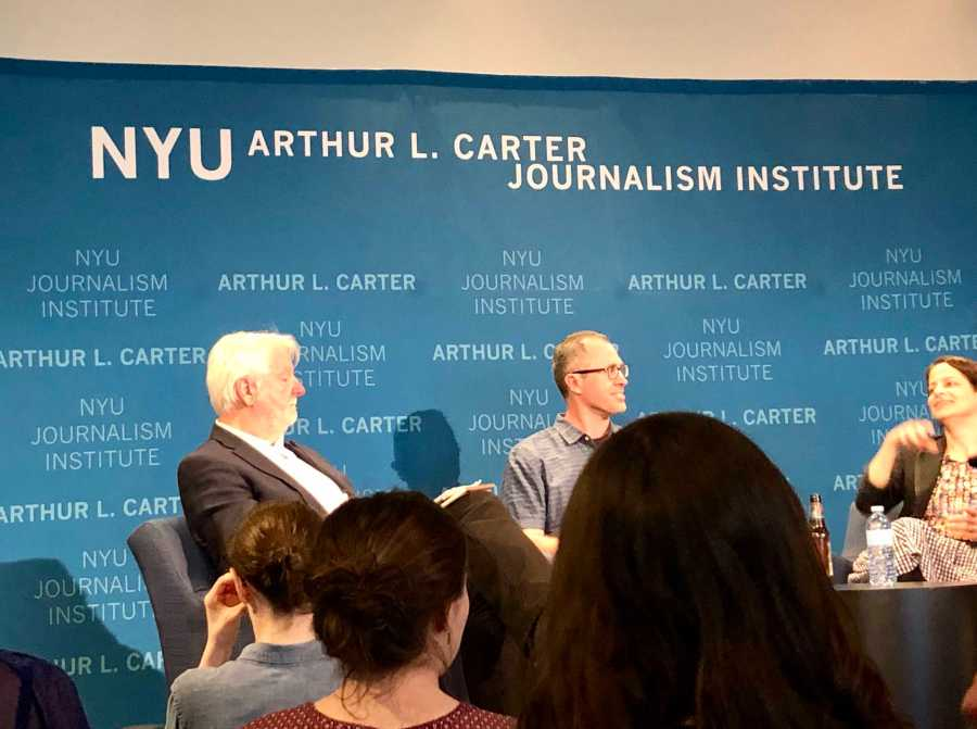 Robert Hotz, Brain Nosek and Alicia Speigel held a discussion on Journalism on the Brain at the Arthur L. Journalism institute. (Photo by Mansee Khurana)