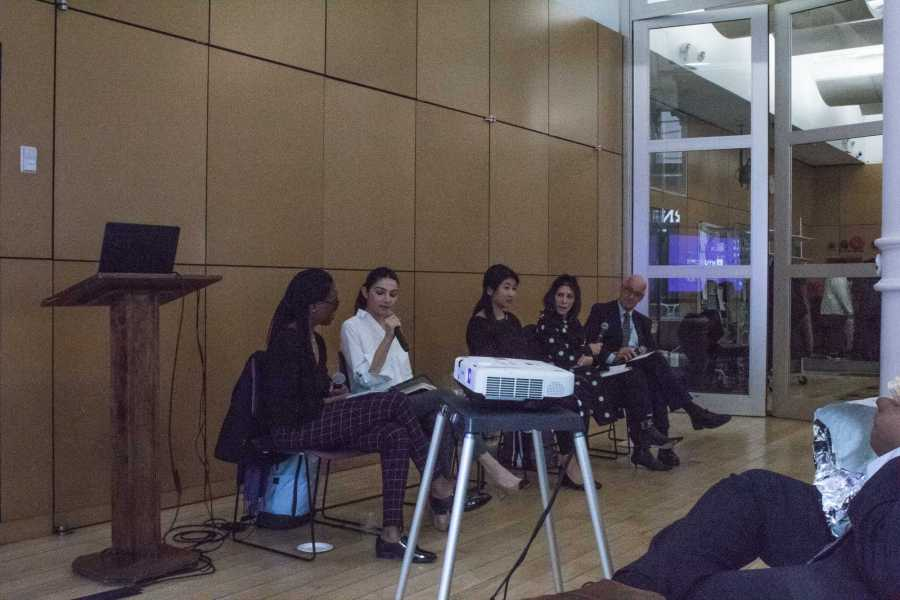 Panelists at the town hall discuss wellness resources for students. (Photo by Victor Porcelli)