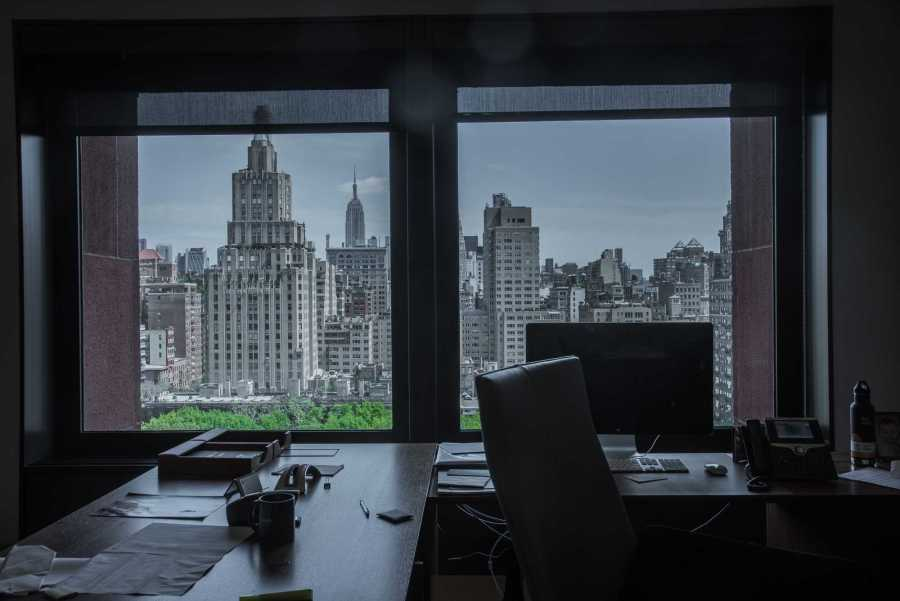 The window view of New York City from NYU President Andrew Hamilton's office. (Photo by Sam Klein)