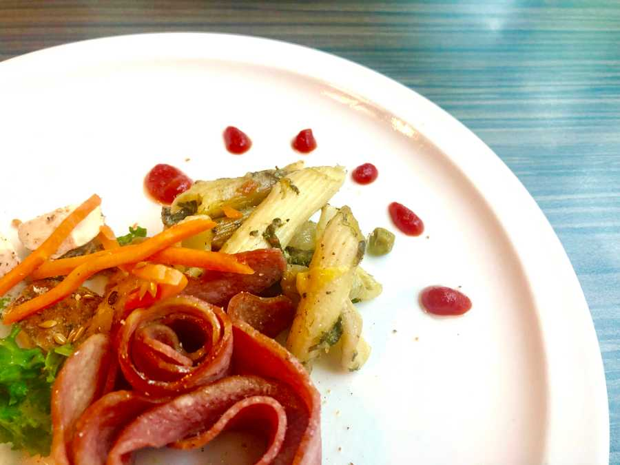 Plated meal from Harvest Table at Third North Residence Hall. (Staff Photo by Jorene He)
