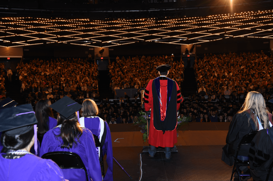 Steinhardt Dean Dominic Brewer addresses the audience at the school's undergraduate commencement on Tuesday. This is Brewer's last commencement as dean, as he will be leaving NYU after this semester. (via Steinhardt)