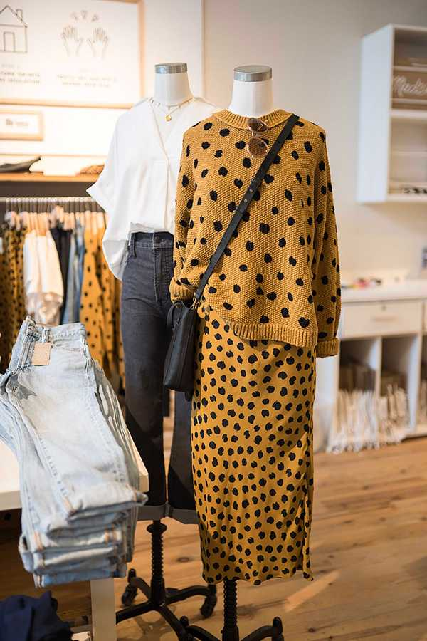 Leopard print midi-skirt styled with a leopard print sweater on display at Madewell. (Photo by Mandie Montes)