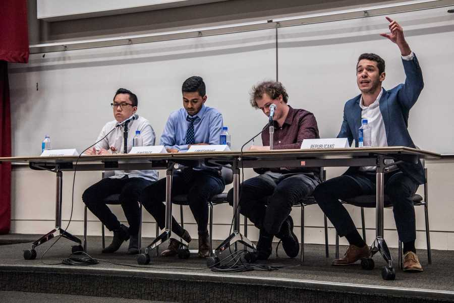 Four NYU political student groups debate in April 2018. The NYU College Democrats and NYU College Republicans have hired new executive boards and hope to coordinate more frequently this fall. (Photo by Sam Klein)