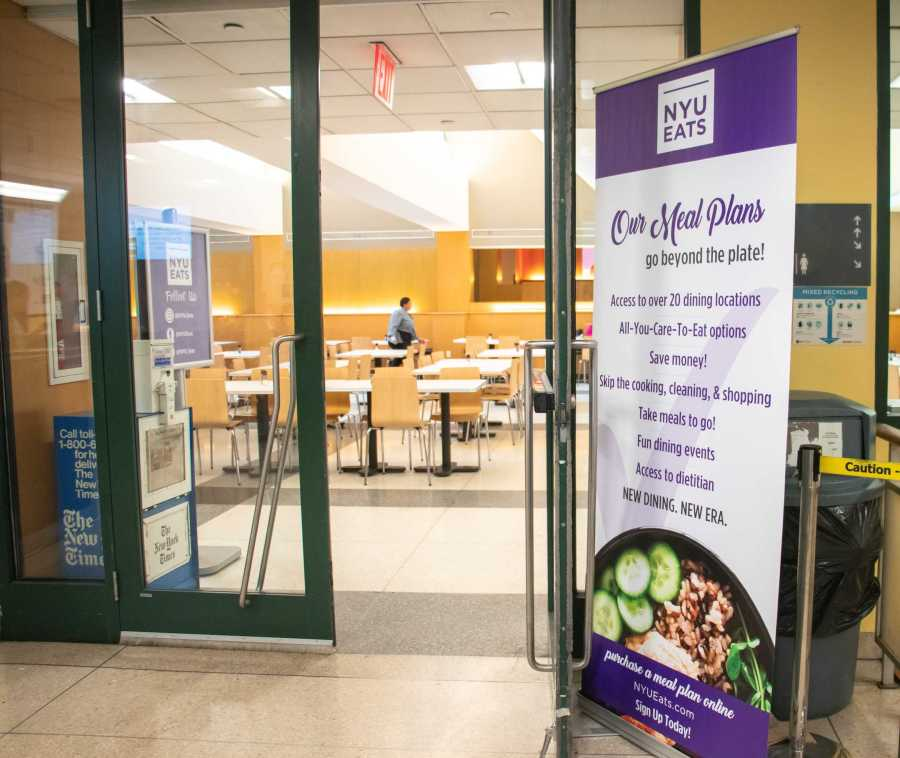 The new and rebranded Upstein has a prominent NYU Eats banner outside of its entrance. (Staff Photo by Marva Shi)