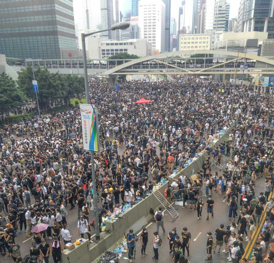 Protestors fill the streets in Hong Kong (Staff photo by Kate Lowe).