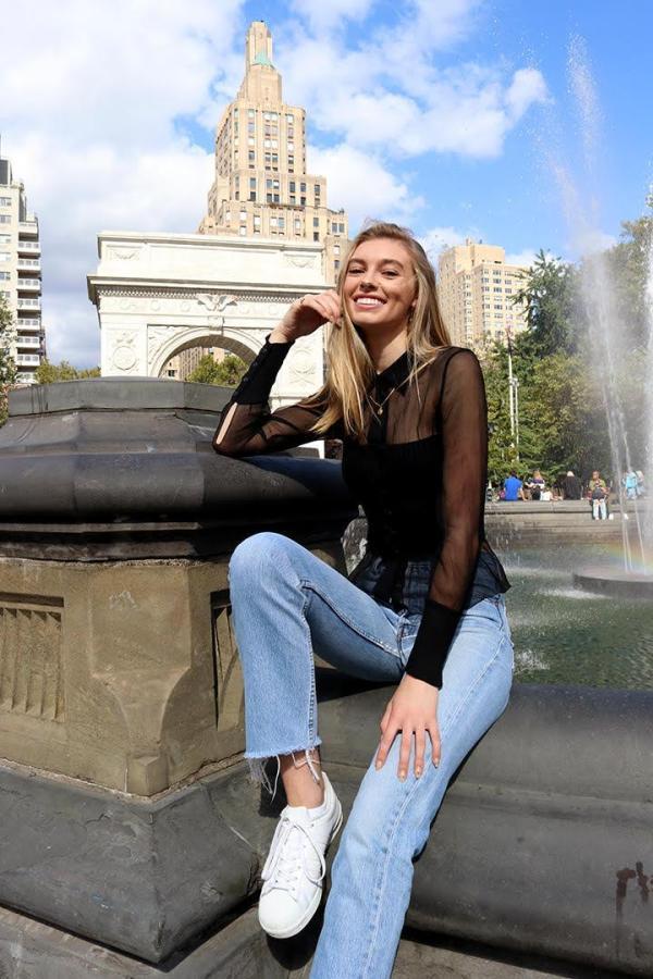 Hannah Tribolet poses in Washington Square Park. (Photo by Talia Barton)