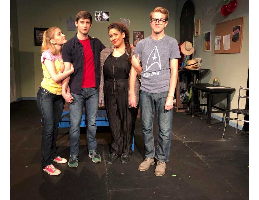 Sami Staitman, Corbin Williams, Ariana Valdes, and Eli LaCroix act in The Green Room, a musical at the American Theatre of Actors. (Photo Courtesy of S. Scott Miller)