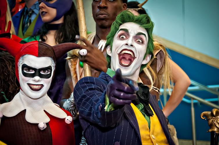 A couple dress up as Harley Quinn and The Joker. As the new Joker movie came out earlier this October, the notorious DC Comic character became one of people's top choices for Halloween costume. (Via Wikimedia)