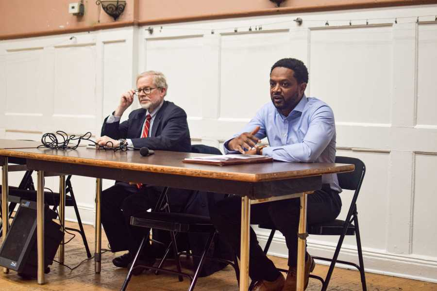 Assemblyperson Richard Gottfried (left) and The Legal Aid Society lawyer Robert Desir (right) on Monday explaining The Housing Stability and Rent Protection Act of 2019. (Staff Photo by Ronni Husmann)