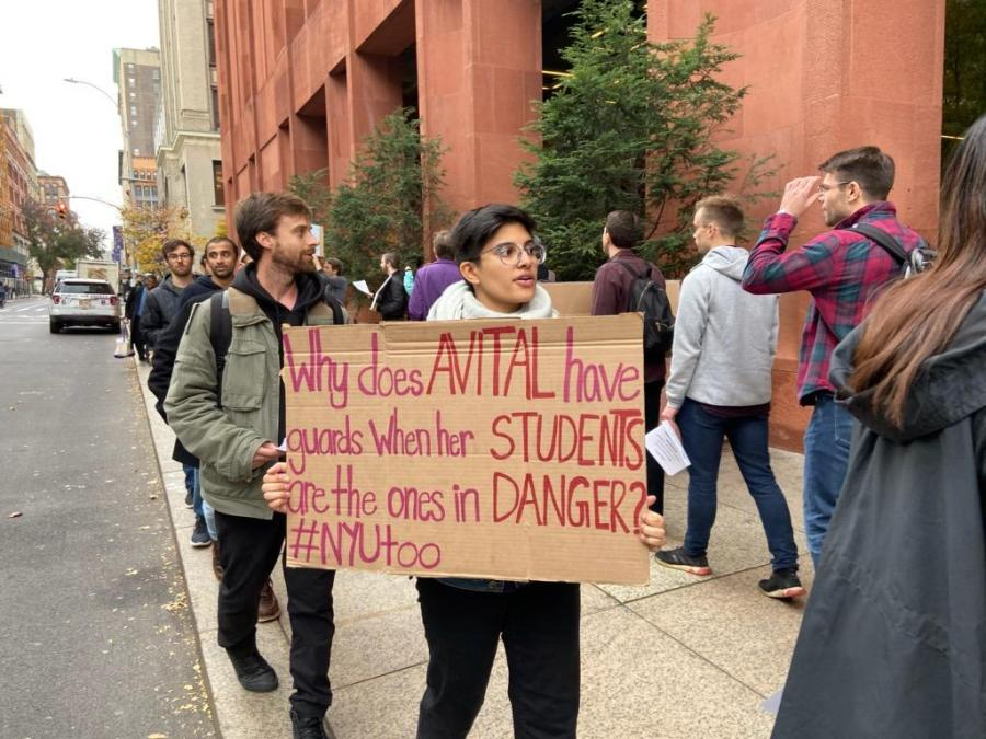 GSAS student Alysha Kundanmal and other members of the graduate student union continued their call for Avital Ronell to be fired in a protest on Tuesday. (Photo by Mina Mohammadi)