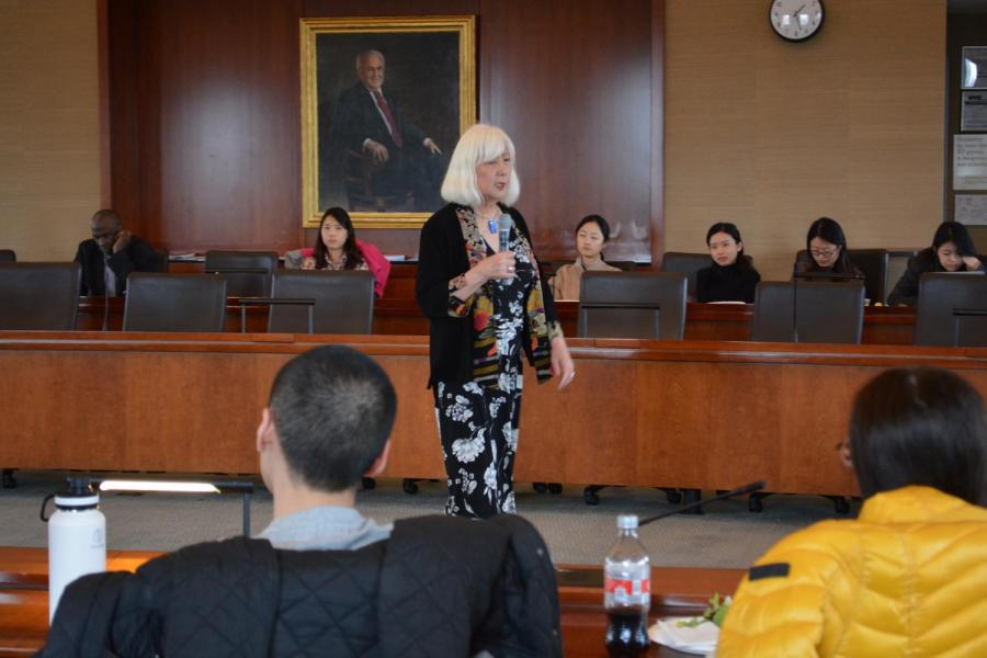 Attorney+and+activist+Mia+Yamamoto+speaks+to+an+audience+at+Furman+Hall.+Yamamoto+is+a+Japanese-American+transgender+woman%2C+and+she+led+a+conversation+about+the+2017+U.S.+ban+on+transgender+military+service+members.+%28Photo+by+Manasa+Gudavalli%29