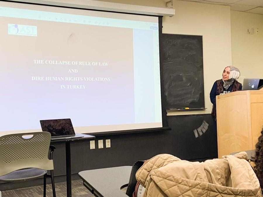 Hafza Girdap, Advocates of Silenced Turkey's spokesperson discusses civil rights in Turkey with NYU students at