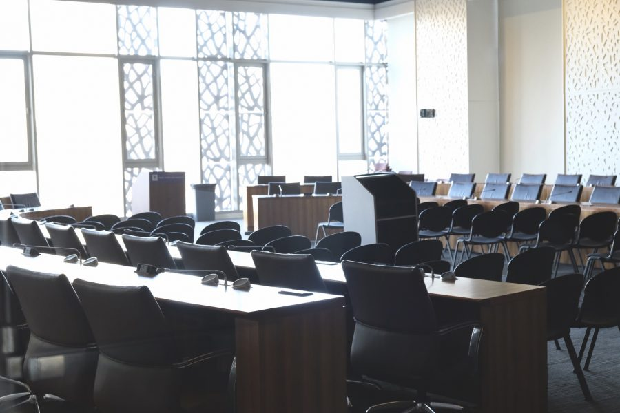 The Colloquium Room at the Kimmel Center is where the Student Government Assembly meets. The SGA offered a statement in response to the current situation facing the NYU community. (Photo by Jorene He)