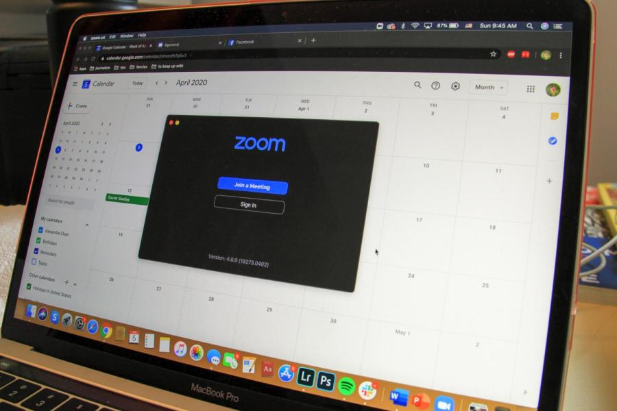 Zoom isn't just for academic classes; many students have used the platform to hang out virtually with friends. Through Zoom's screen-sharing feature, friends are able to play online games such as Jackbox or Kahoot. (Staff Photo by Alexandra Chan)