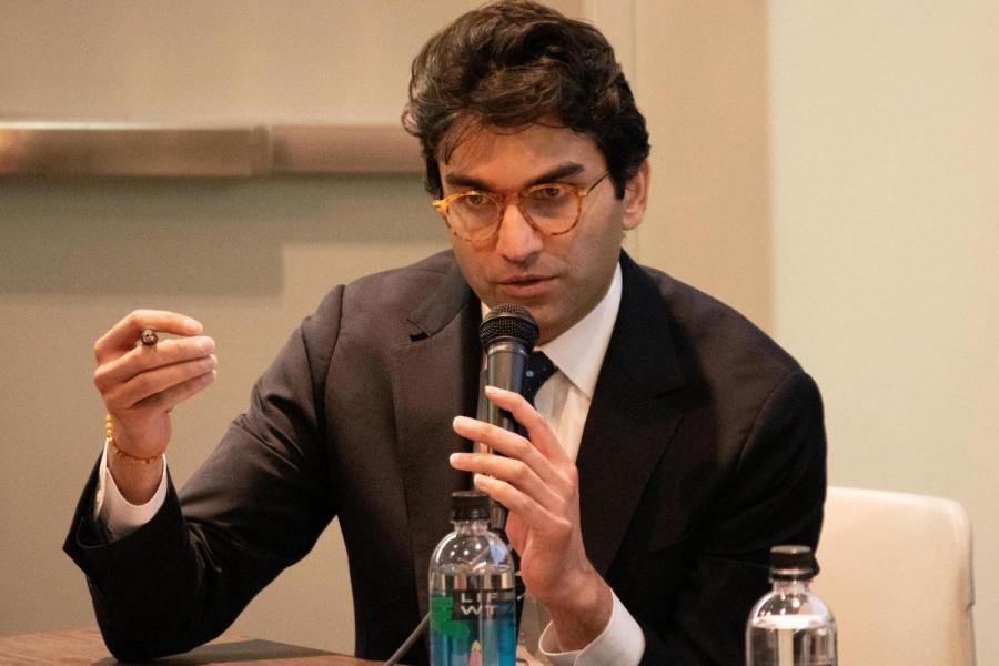 NYU+Professor+and+Congressional+candidate+Suraj+Patel+speaks+at+a+town+hall+meeting+discussing+the+city%27s+response+to+the+coronavirus+pandemic.+Patel+was+recently+diagnosed+with+COVID-19.+%28Staff+Photo+by+Jake+Capriotti%29