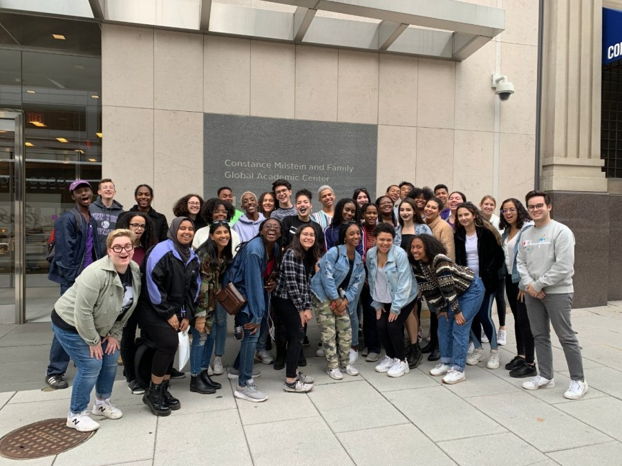 MLK Scholar's 2023 Cohort at their October Travel Colloquium in front of NYU's Washington D.C. campus. MLK Scholars volunteered at an ALS walk, went to the Holocaust museum, African-American museum, and the MLK monument (Image from nyu.edu)