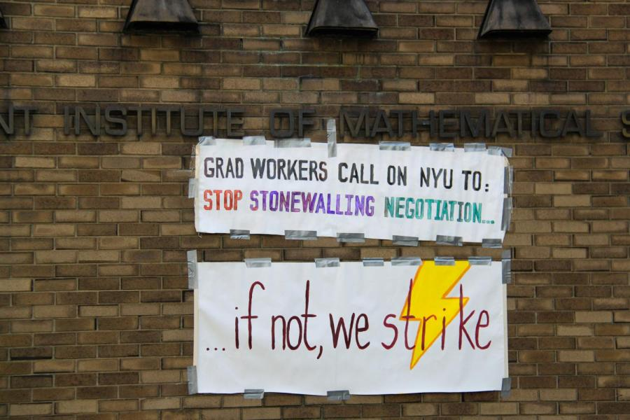 The NYU Graduate Student Union held a strike vote rally at Gould Plaza on Tuesday. (Staff Photo by Alexandra Chan)