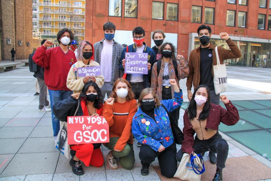 Undergraduate students and other supporters came to the rally in support of GSOC. (Staff Photo by Alexandra Chan)