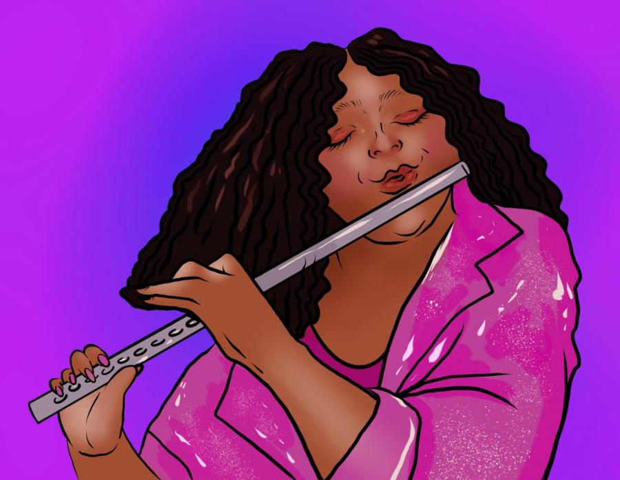 Lizzo is a female singer, rapper, songwriter, and flutist, who highlights intersectional feminism, fights for the equality of all women, and specifically speaks to women of color. She promotes self-love and lifts up her audiences and encourages them to empower others in their lives. (Staff Illustration by Susan Behrends Valenzuela)