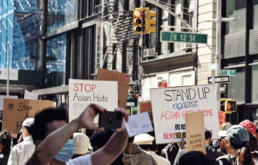 Images from a recent protest against Asian hate in the Lower East Side. At NYU, an Asian student group is offering self-defense training to Asian students through Northwestern's Karate Club. (Photo by Sirui Wu)