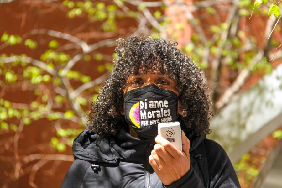 NYC mayoral candidate Dianne Morales speaks to picketing students.