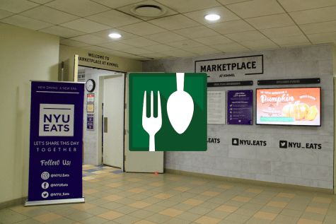 The Share Meals app was created in 2009 by NYU alumni Jonathan Chin. NYU students can donate their meal swipes to those in need.  (Staff Photo by Alexandra Chan. Staff Illustration by Alex Tran)