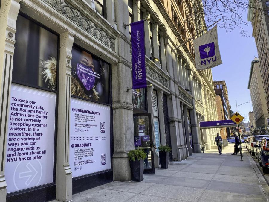 The Bonomi Family Admissions Center is located next to Washington Square Park. NYU will soon welcome the new class of 2025. (Photo by Ryan Walker)