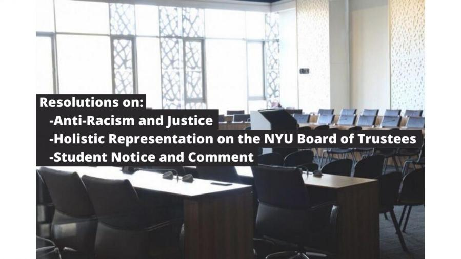 The+NYU+Student+Government+Assembly+passed+three+resolutions.+The+three+resolutions+are+on+Anti-Racism+and+Justice%2C+Holistic+Representation+on+the+NYU+Board+of+Trustees%2C+and+Student+Notice+and+Comment%2C+which+will+be+brought+before+the+University+Senate+on+April+22.+%28Photo+by+Jorene+He%2C+Staff+Illustration+by+Manasa+Gudavalli%29