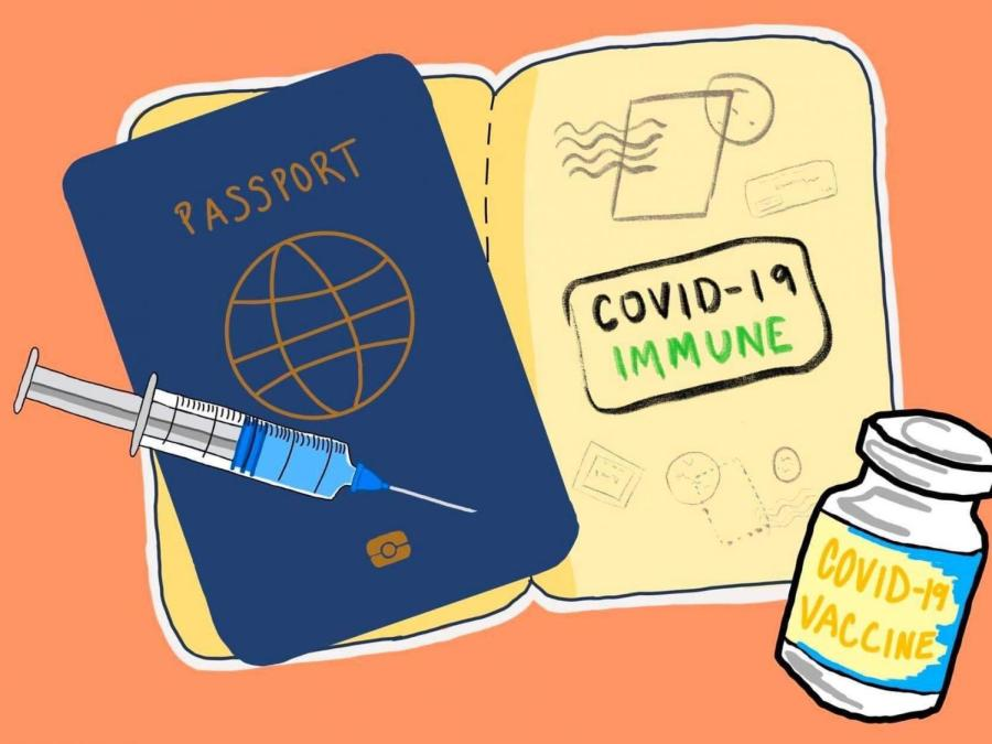 New York got its first vaccine passport app which is the first government-issued immunity pass in the country. However, the prospect of widespread use of a vaccine passport has prompted both critics and supporters. (Staff Illustration by Manasa Gudavalli)