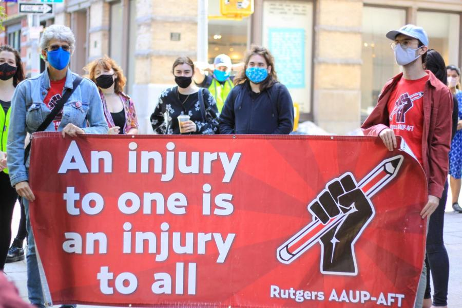 Rutgers AAUP-AFT comes to support GSOC on day 5 of the picket line.
