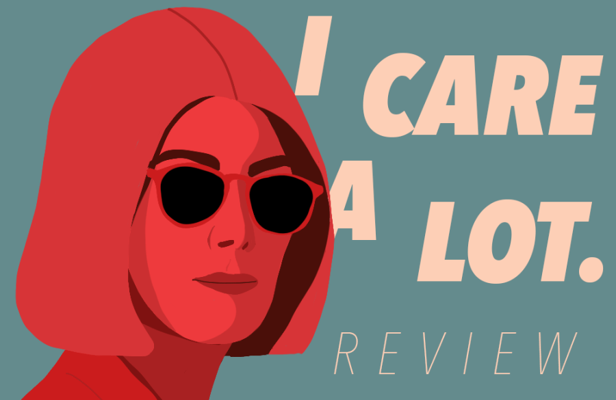 I Care a Lot is a dark comedy film written and directed by J Blakeson and starring Rosamund Pike. This film focuses more on the empowering girlboss narrative than providing positive queer representation for which it is praised for. (Staff Illustration by Debbie Alalade)