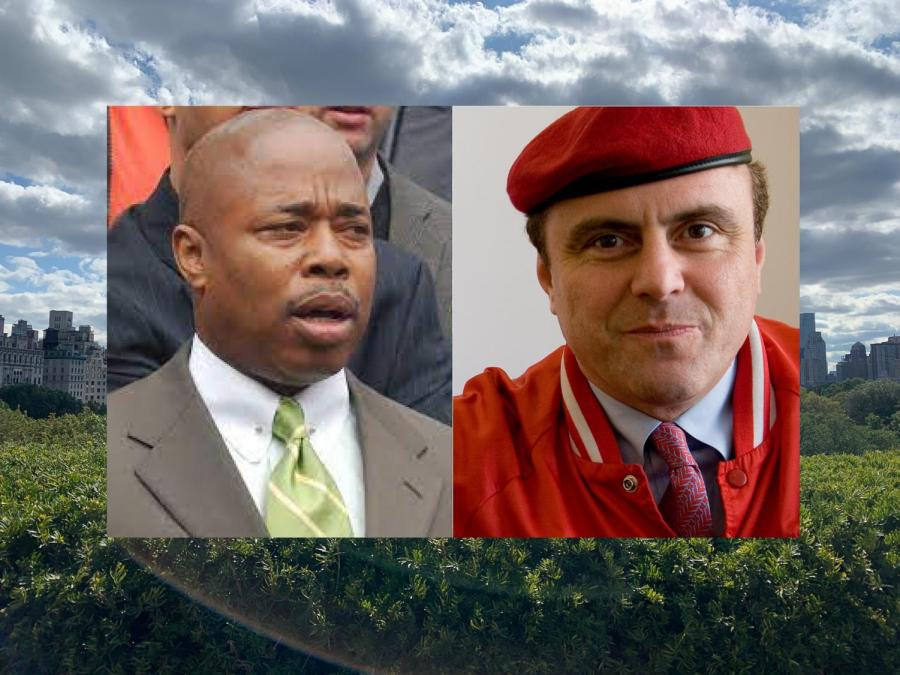 Democratic candidate Eric Adams and Republican candidate Curtis Sliwa take the lead as front runners of their respective races, following voter turnout from Primary Day. However, official results are expected to be revealed in mid-July following rounds of ranked-choice voting. (Images via Wikimedia Commons, Staff Photo and Illustration by Manasa Gudavalli)