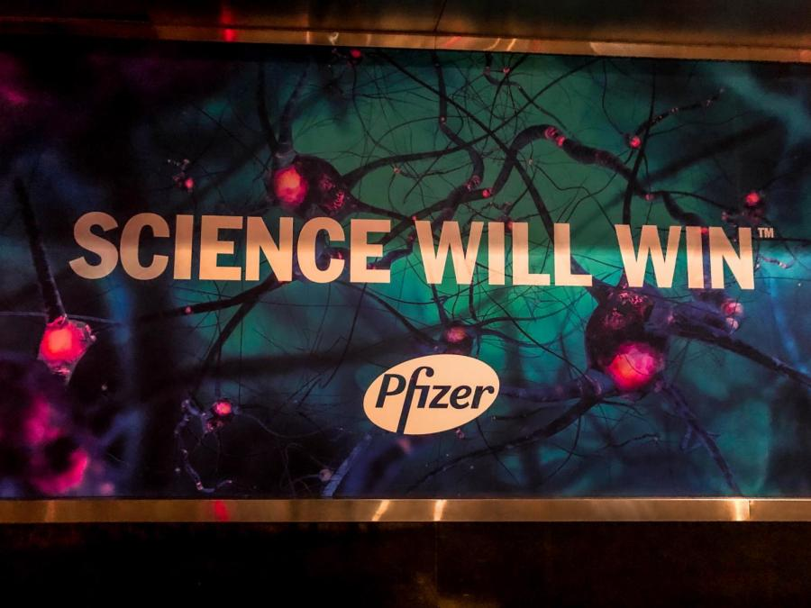 The New York Pfizer office located in midtown. As international students prepare to come back to the city, concerns arise about potential mixing and matching of COVID-19 vaccinations. (Staff Photo by Roshni Raj)