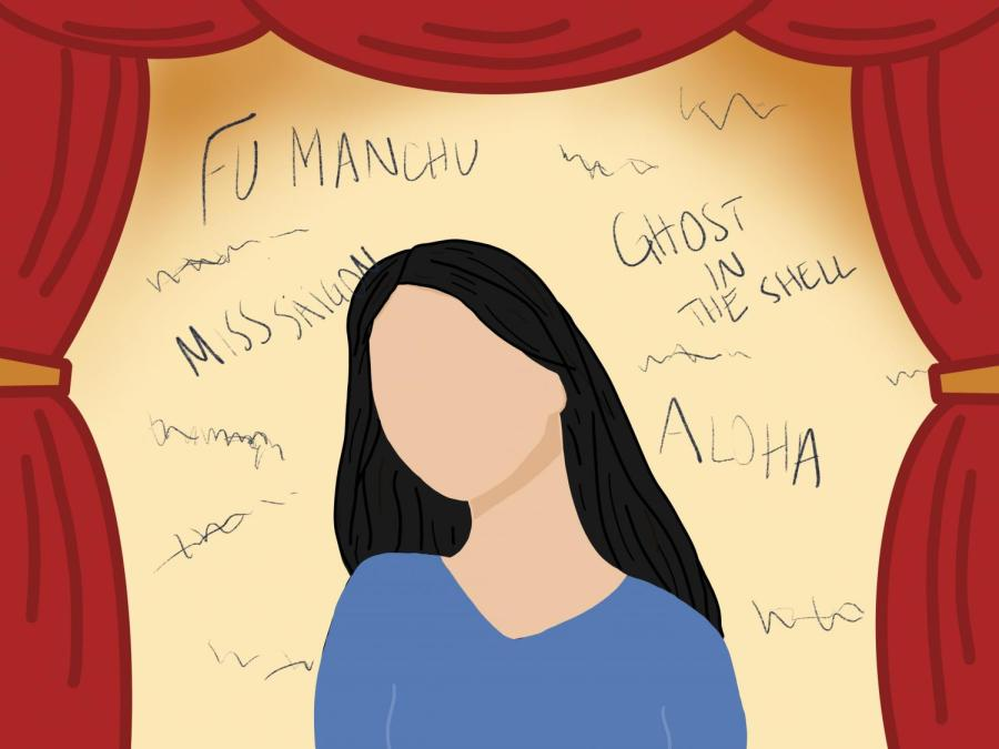 Despite not looking or behaving similarly, Asian actress students are constantly mixed up by their NYU professors. U.S. media perpetuates racial microaggressions by either having stereotypical Asian characters or having white-washed characters played by white women. (Staff Illustration by Manasa Gudavalli)