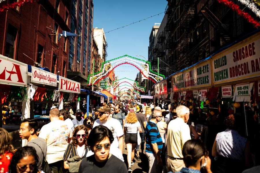 Visitors crowd the Annual Feast of San Gennaro, held in Little Italy. Despite the name of the neighborhood, the Italian population in Little Italy has been decreasing and replaced by white collar workers. (Staff Photo by Jake Capriotti)