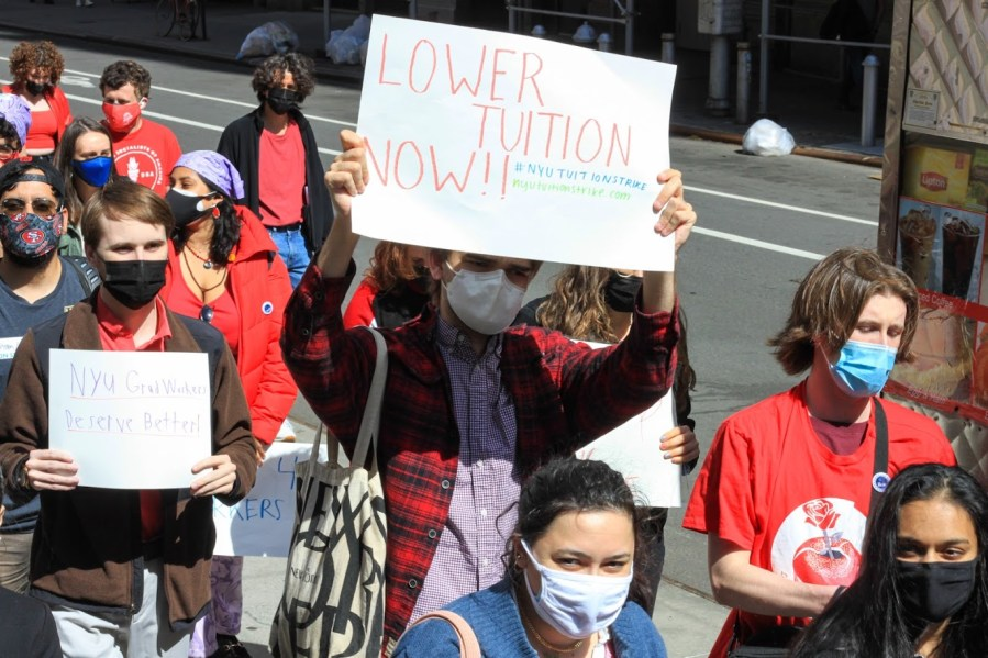 NYU's chapter of the Young Democratic Socialists of America announced its Fall 2021 tuition strike on April 30. However, the group recently called off its tuition strike for the Fall 2021 semester and now plans to organize another strike for Spring 2022. (Staff Photo by Alexandra Chan)